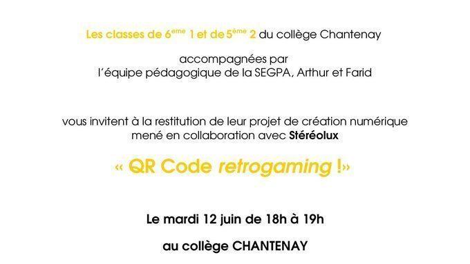 Invitation soirée -QR code retrogaming- organisée par les 61 et 52 autour d'un projet de création numérique.